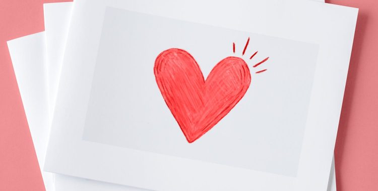 drawing of heart on paper