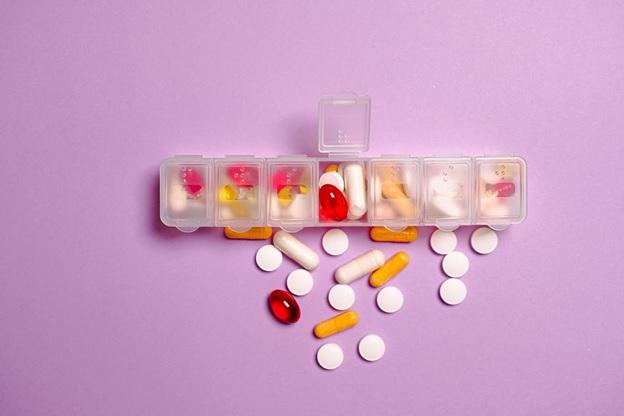 Pills in a plastic pillbox